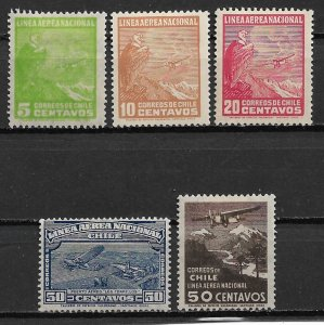 1931 Chile C22-6 Airmail set of 5 MH
