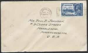 NEWFOUNDLAND 1935 7c Jubilee on cover - first day cancel...................53065