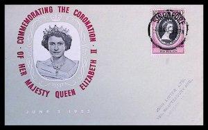 Malaya - Perlis Queen Elizabeth II Coronation (1953) Singapore Cancel FDC