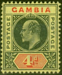 Gambia 1909 4d Black & Red-Yellow SG76a Dented Frame V.F Very Lightly Mtd Mint