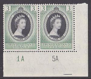 TRINIDAD 1953 Coronation plate pair MNH.....................................3277