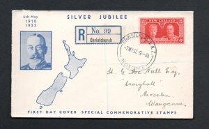 NEW ZEALAND 1935 JUBILEE 6d VALUE ON FDC