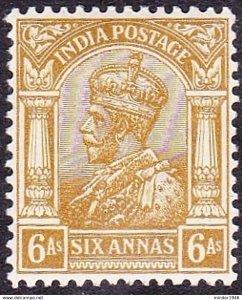 INDIA 1912 KGV 6 Anna Yellow-Bistre SG177 MH