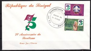 Senegal, Scott cat. 613-614 only. Scouting Year values. First day Cover. ^