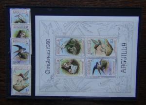 Anguilla 1980 Christmas Birds set & Miniature Sheet MNH