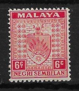 MALAYA NEGRI SEMBILAN SG27a 1937 6c SCARLET STOP OMITTED VAR MNH