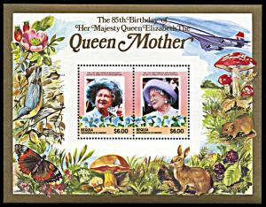 Bequia 212, MNH, Queen Mother's 85th Birthday souvenir sheet