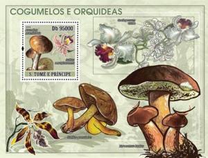 SAO TOME E PRINCIPE 2008 SHEET MUSHROOMS ORCHIDS FLOWERS st8107b