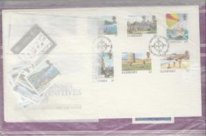 Guernsey 1985 FDC, Packs x 2 Sets x 4 (Guides, Peace, Town) PO Fresh J2667