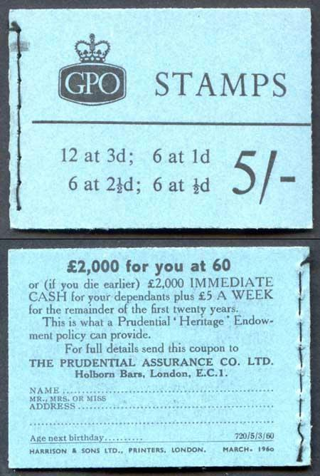 H43g March 1960 5/- Graphite Booklet 2 1/2d Upright
