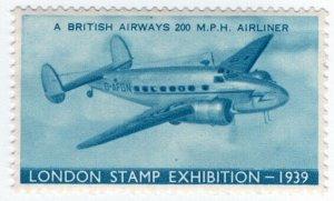 (I.B) Cinderella Collection : Stamp Exhibition 1939 (Airliner)
