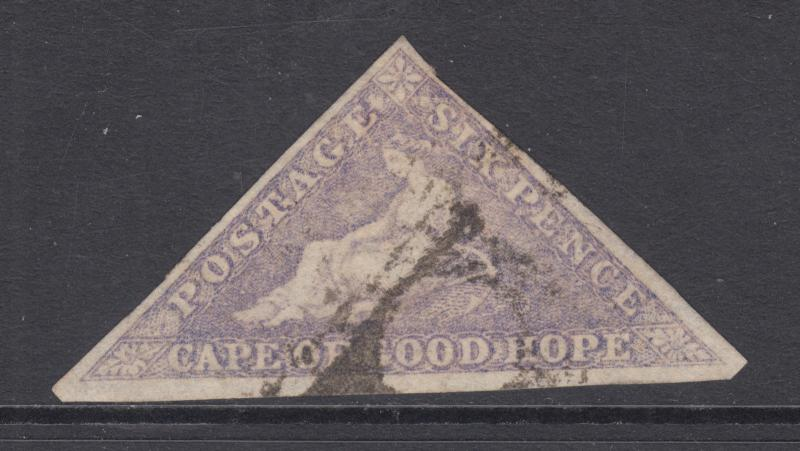 Cape of Good Hope Sc 5, SG 7 used 1858 6p Hope Seated triangular, Die A, F-VF