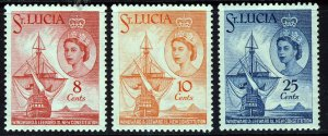 ST LUCIA Queen Elizabeth II 1960 New Constitution Set SG 188 to SG 190 MINT
