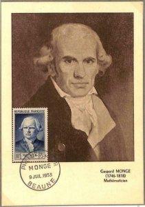 90119 - FRANCE - Postal History - FDC MAXIMUM CARD - 1956 Gaspard MONGE Maths