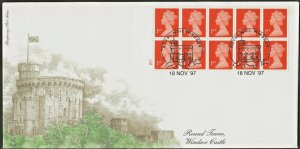 18/11/1997 £2.60 WALSALL 10 x 1st NVI BOOKLET CYL.NO /COMB PERF /DULL FLUOR FDC