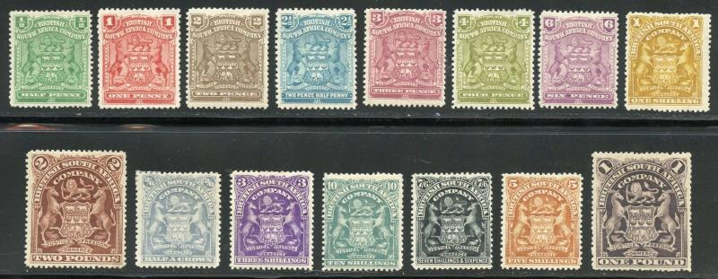 RHODESIA  SCOTT#59/73, GIBBONS#75/91  MINT HINGED ORIGINAL GUM