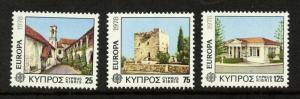 Cyprus 495-7 MNH EUROPA, Chrysorrhogiatissa Monestry, Kolossi Castle, Library