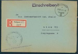 3rd Reich 1945 Aachen 183rd Volks Grenadier Div Registered Feldpost Cover 53082