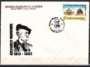 Romania, 1993 issue. 22/MAY/93. Composer R. Wagner Cancel on a Cachet Covers.^