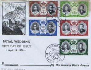 MONACO 366-370 ROYAL WEDDING - Pan Am FDC