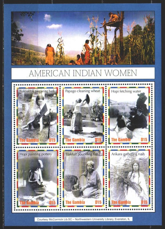 Gambia. 2004. Small sheet 5307-12. Ethnography, Native American Women. MNH.