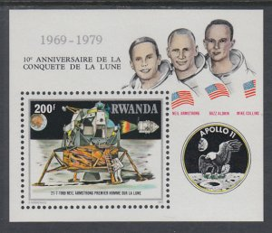 Rwanda 957 Anniversary Moon Landing Souvenir Sheet MNH VF