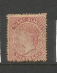 TURKS ISLANDS 1873-79  1d  QV  MH  THROAT FLAW  SG 4a