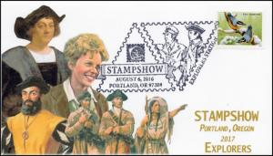 17-335, 2017, Stampshow Portland, Explorers, Pictorial Postmark, Event Cover