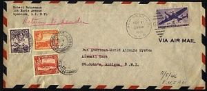 USA TO ANTIGUA 1946 Pan Am test letter with Antigua stamps added for return.....