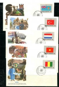 United Nations 1980 16 FDC Covers Sc 325-340 Flags 11307