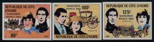 Ivory Coast 642-5 imperf MNH Prince Charles, Princess Diana, Royal Baby o/p