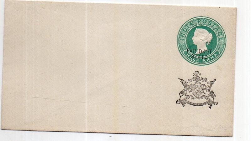 India - FARIDKOT STATE 1/2 AS  OVERPRINT  envelope mint WITH MONO UNUSED