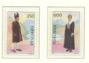 Faroe Islands Sc 189-0 1989 Folk Costumes stamp set mint NH
