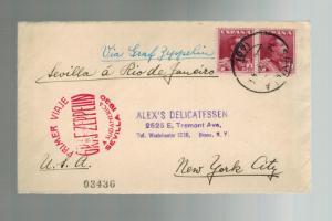 1930 Seville Spain Graf Zeppelin Mail First FLight Cover to USA via Rio Brazil