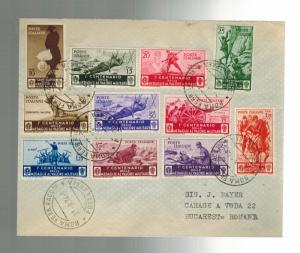 1934 Rome Italy Cover Complete Medal of Valori Set # 331-341 to Romania