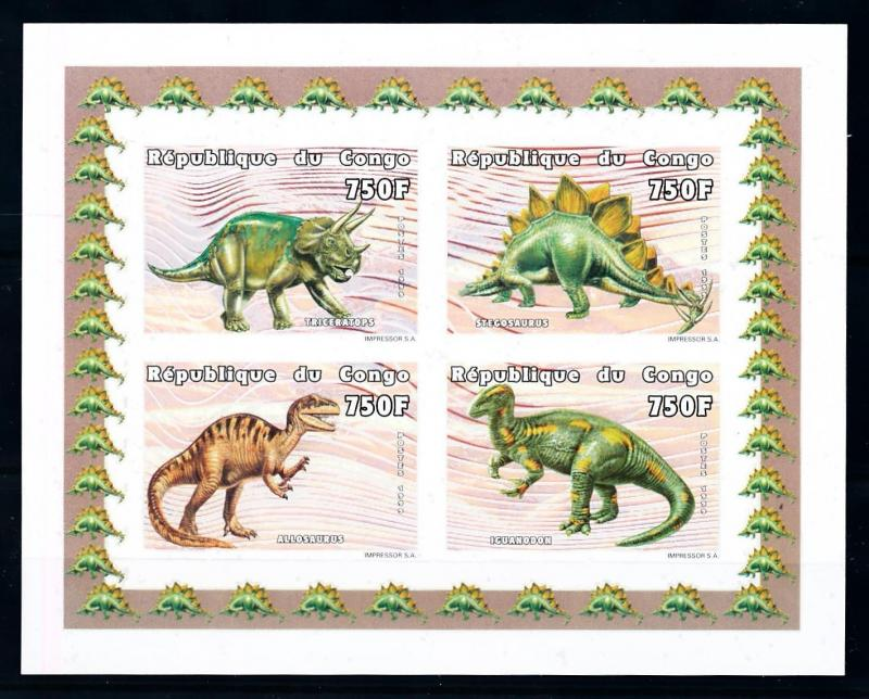 [75628] Congo Brazzaville 1999 Prehistoric Animals Dinosaurs Imperf. Sheet MNH