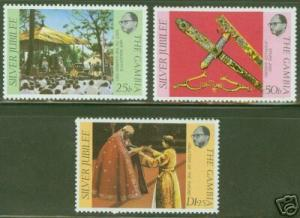 Gambia Scott 345-7  MNH** QE2 Silver Jubilee CV $0.90