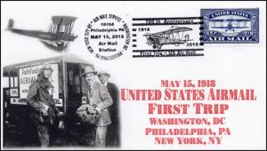18-119, 2018, Airmail 100 years, Philadelphia PA, Pictorial, Event Cover,