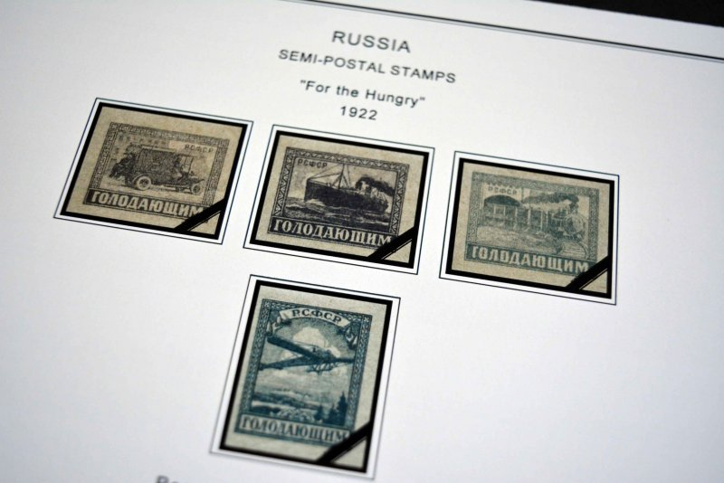 COLOR PRINTED RUSSIA 1857-1940 STAMP ALBUM PAGES (73 illustrated pages)
