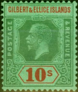 Gilbert & Ellice Islands 1924 10s Green & Red-Emerald SG35 Very Fine Lightly ...