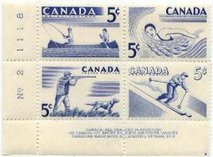 Canada - 1957 5c Recreation Sports mint Plate Blocks #365-8