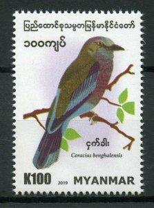 Myanmar Birds on Stamps 2019 MNH Indian Roller Rollers 1v Set