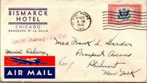 Bismark Hotel Chicago > Philmont NY Special Delivery Air Mail nice details