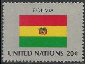United Nations 352 New York Bolvia Flag 20c single MNH 1981