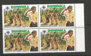 Dominica 534 BLOCK OF 4 MNH BOY SCOUTS[D4]