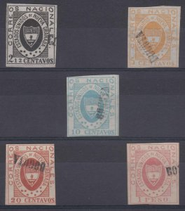 COLOMBIA 1861 NEW GRANADA Sc 13-18 FULL SET OF FORGERIES USED (CV$1,600)
