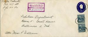 U.S. Scott U534 Stamped Envelope w/820 (2) Prexies on Registered Penn. Cover