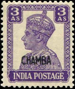 India - Chamba SC# 95 SG# 114 George VI 3As MNH