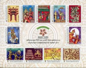 India 2018 MNH ASEAN Summit 11v M/S Temples Dance Cultures Festivals Stamps