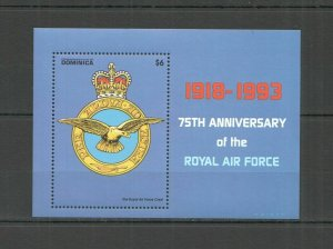 U0355 DOMINICA TRANSPORT BIRDS MILITARY AVIATION THE ROYAL AIR FORCE 1BL MNH